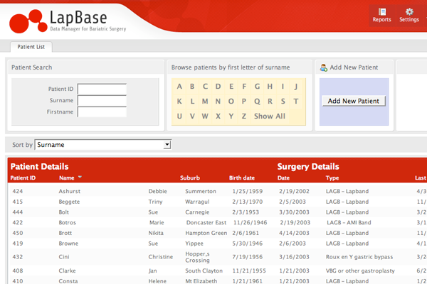 Lapbase Patient Search Screen